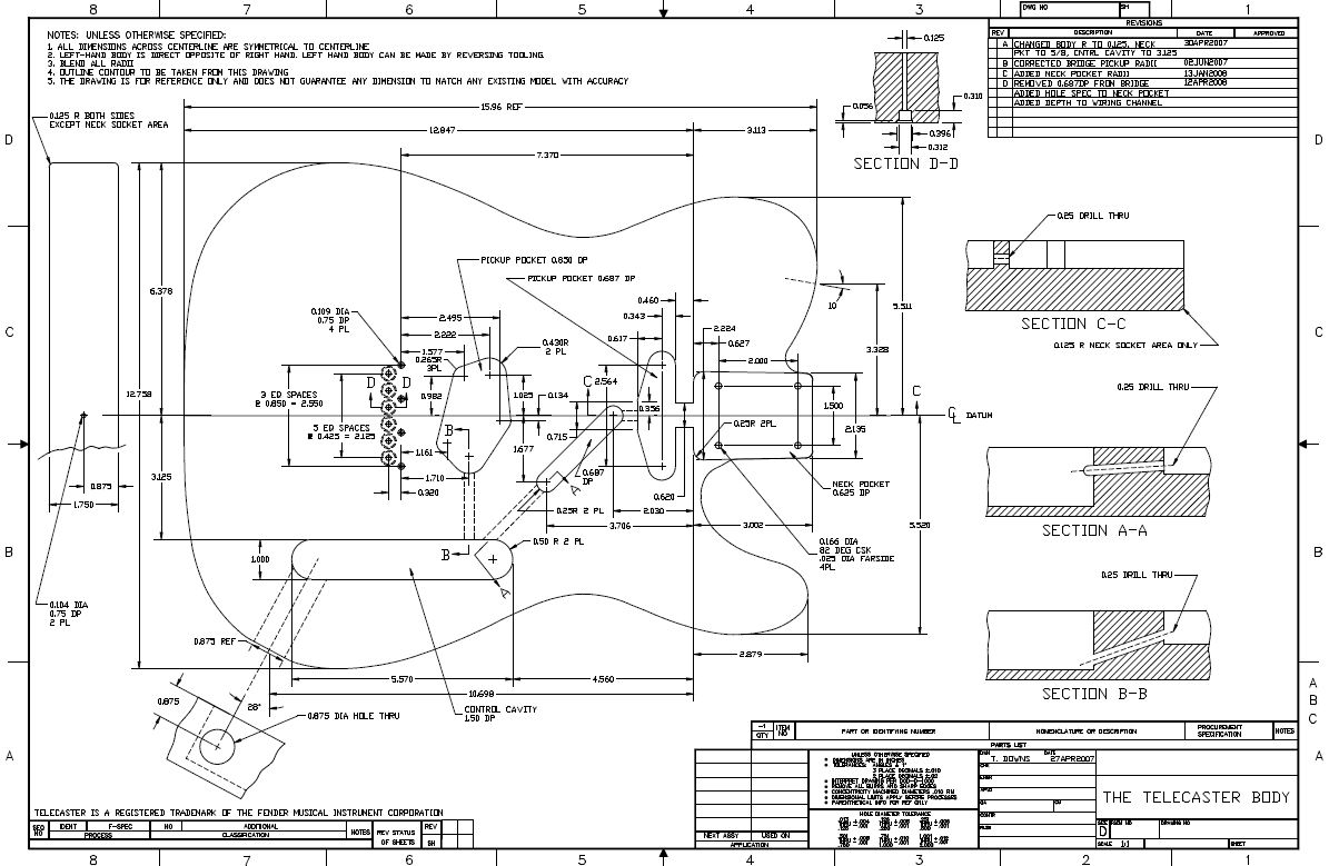 Telecaster Body Schematic Electrical Wiring Diagrams Fender Tele Diagram Drawing