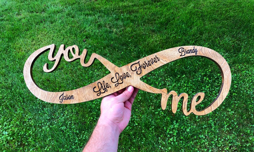 infinity shaped sign carve with an X-Carve and Easel cnc software