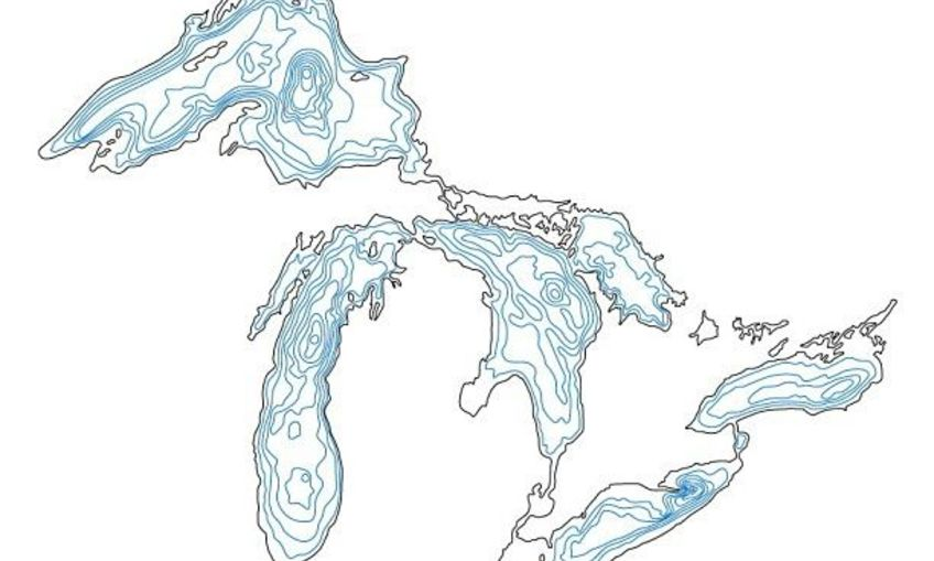 topographic map of lake michigan Inventables Lake Michigan Topographic Map topographic map of lake michigan