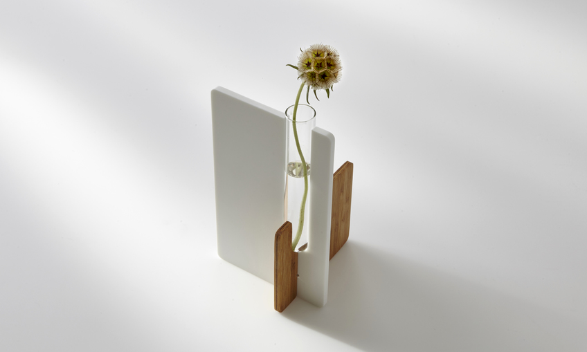 Corian And Bamboo Test Tube Vase