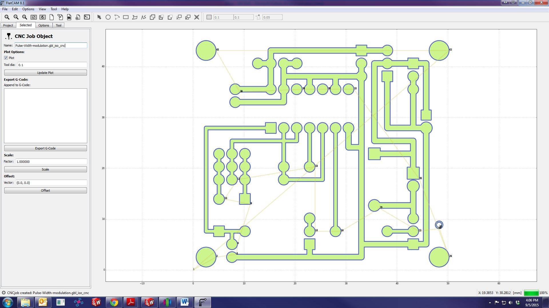 How To Mill A Through Hole Pcb Here Is The Final Circuit Image With Extra Thick Traces And Large Pads 4a