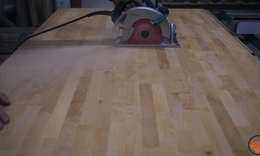 Epoxy inlay and weathered butcher block countertops 4